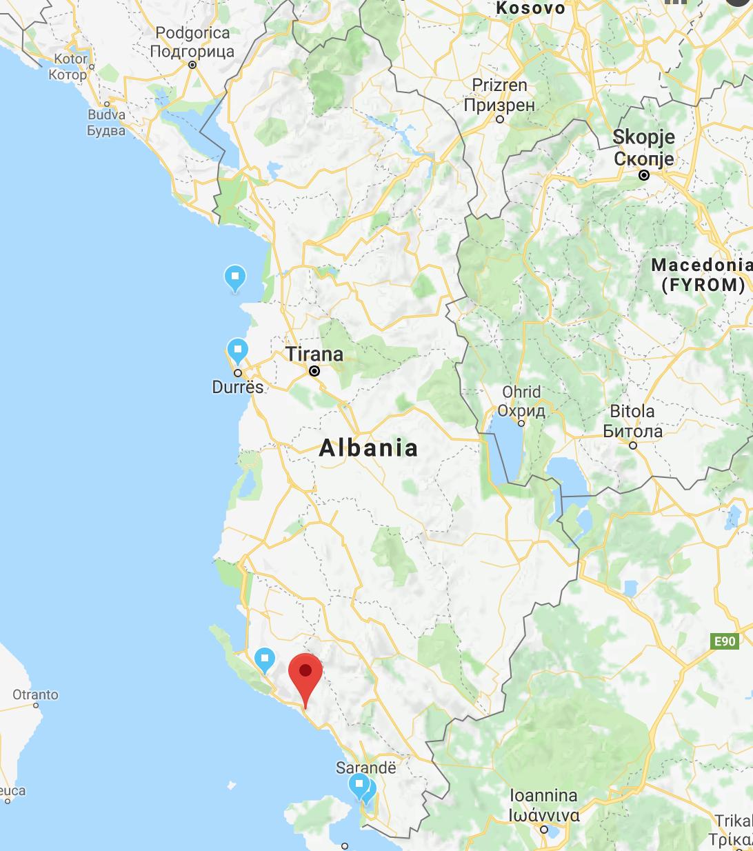 Mapa Albánie